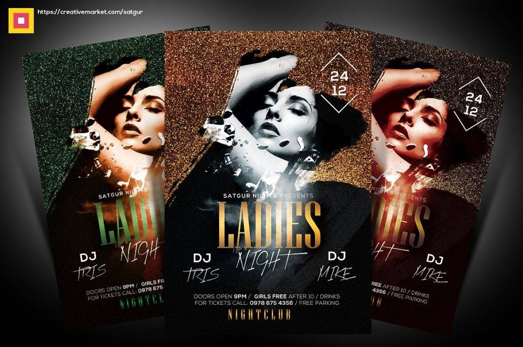 glamorous ladies night party flyer