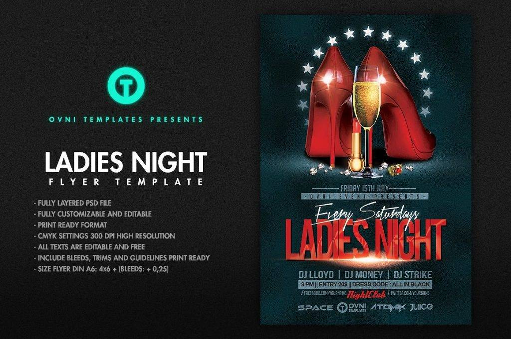 glittering ladies night flyer template