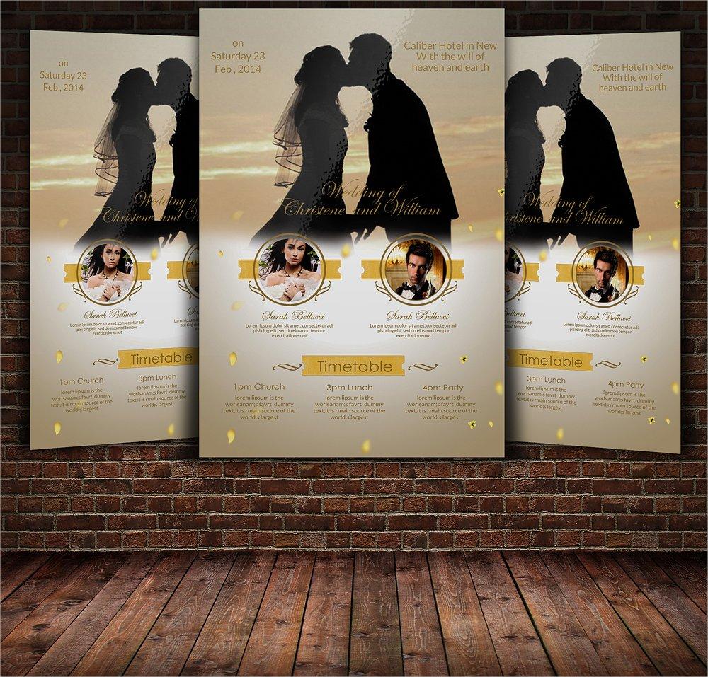golden wedding flyer template