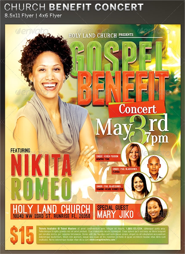 gospel benefit concert church flyer template