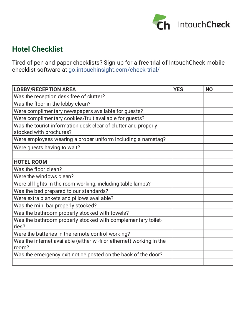 9 hotel checklist examples pdf for Hotel maintenance checklist template
