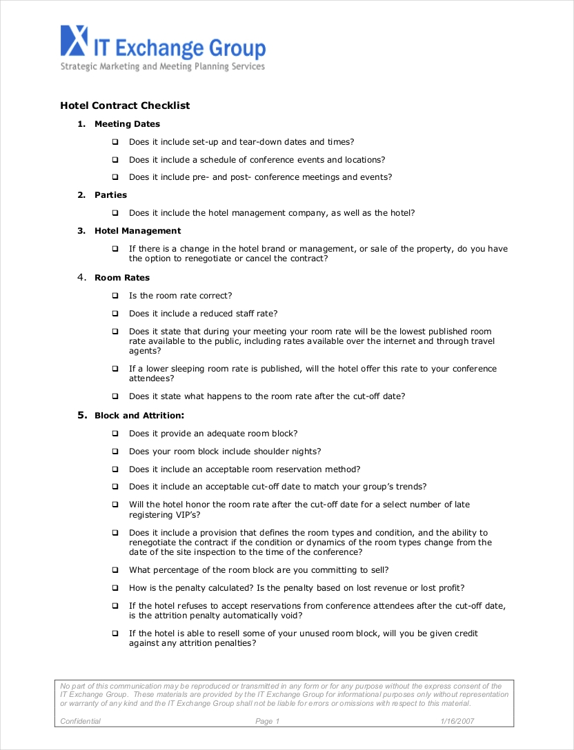 hotel contract checklist example1