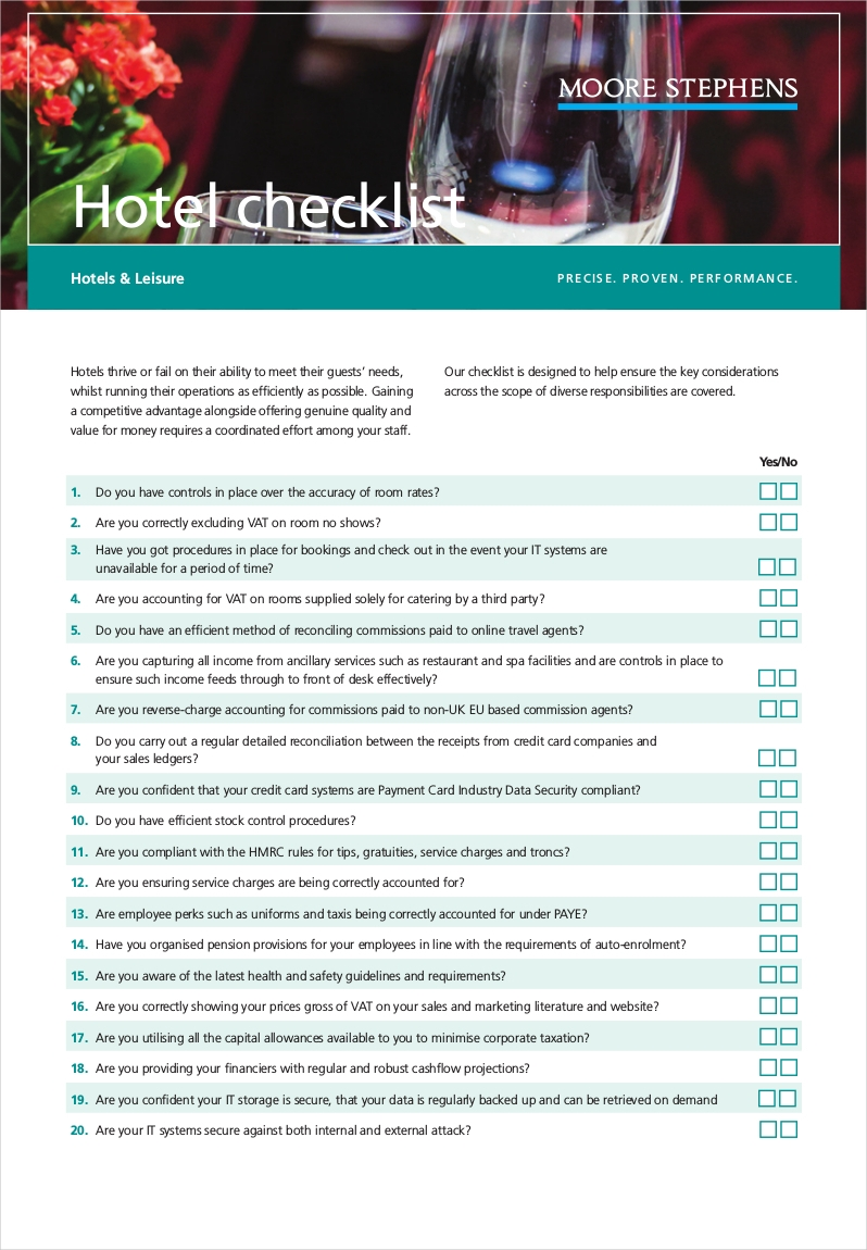 hotel manager checklist example1