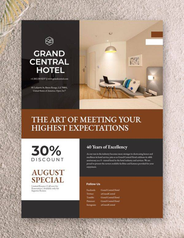 hotel promotional flyer template 600
