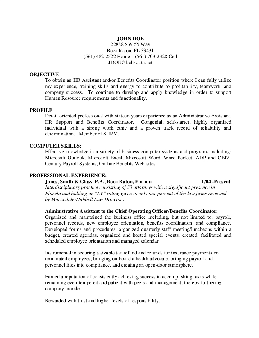 human resources admin resume example1