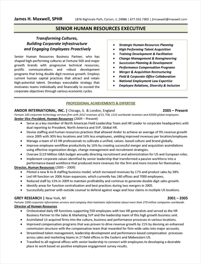 human resources executive resume sample1