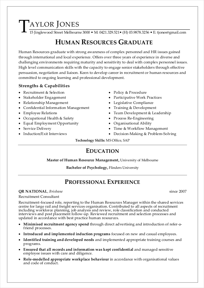 human resources graduate sample resume1