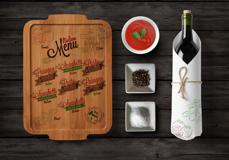 italian menu on board