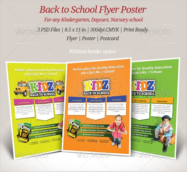 kindergarten day care and nursery back to school flyer