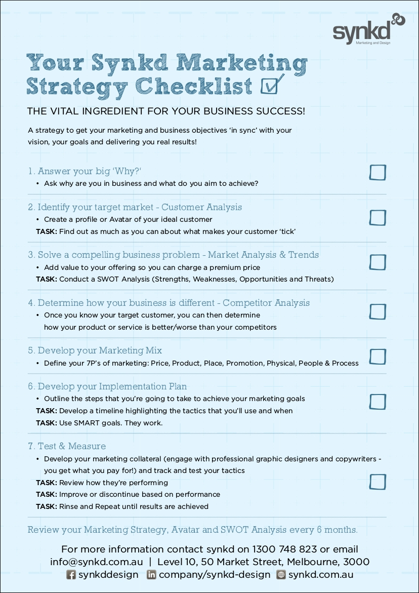 marketing strategy checklist sample in pdf