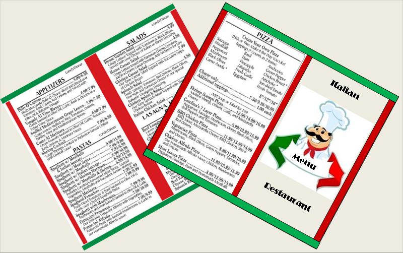 miniature italian restaurant and pizzeria menus