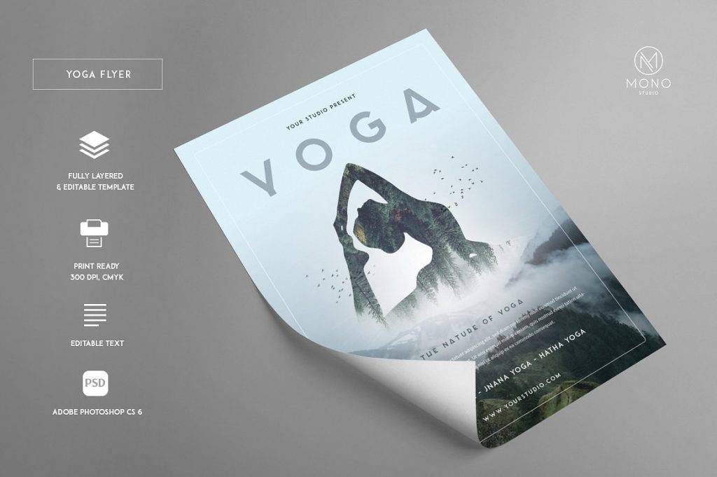 minimalist yoga flyer