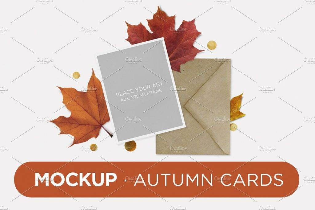 mock up autumn cards