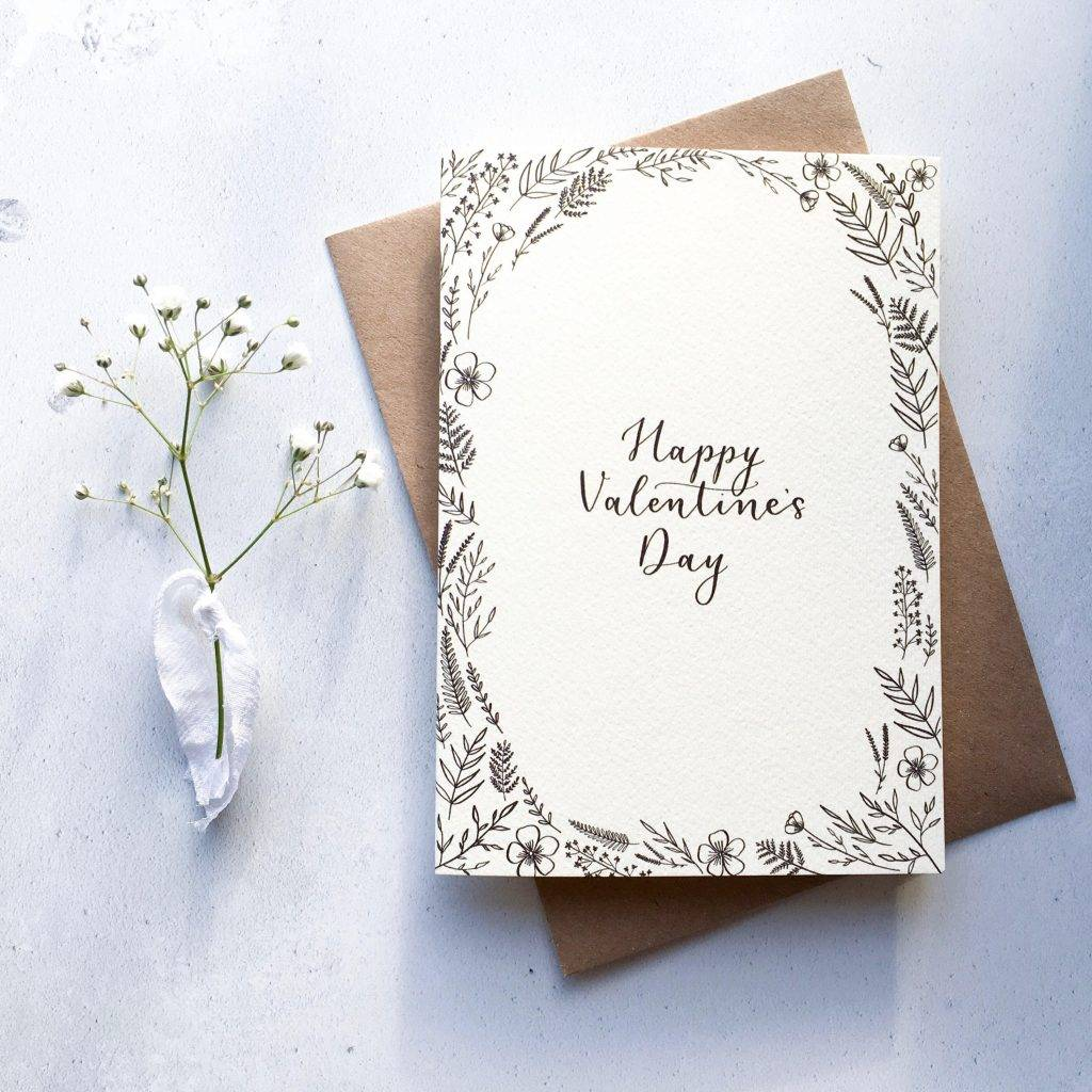 modern calligraphy valentines card