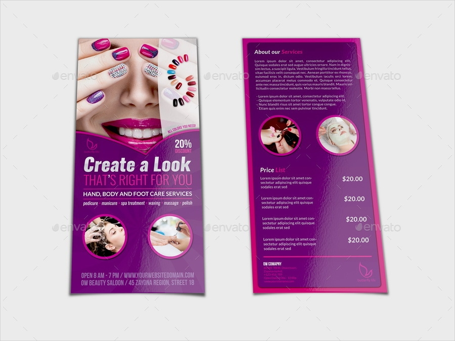 Nail salon flyers template free nail ftempo for Nail brochure templates free