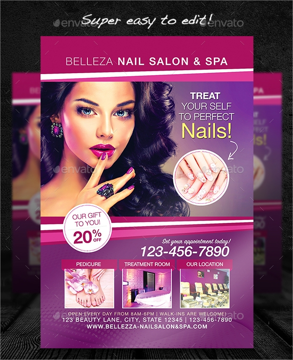 nail salon flyer template in psd