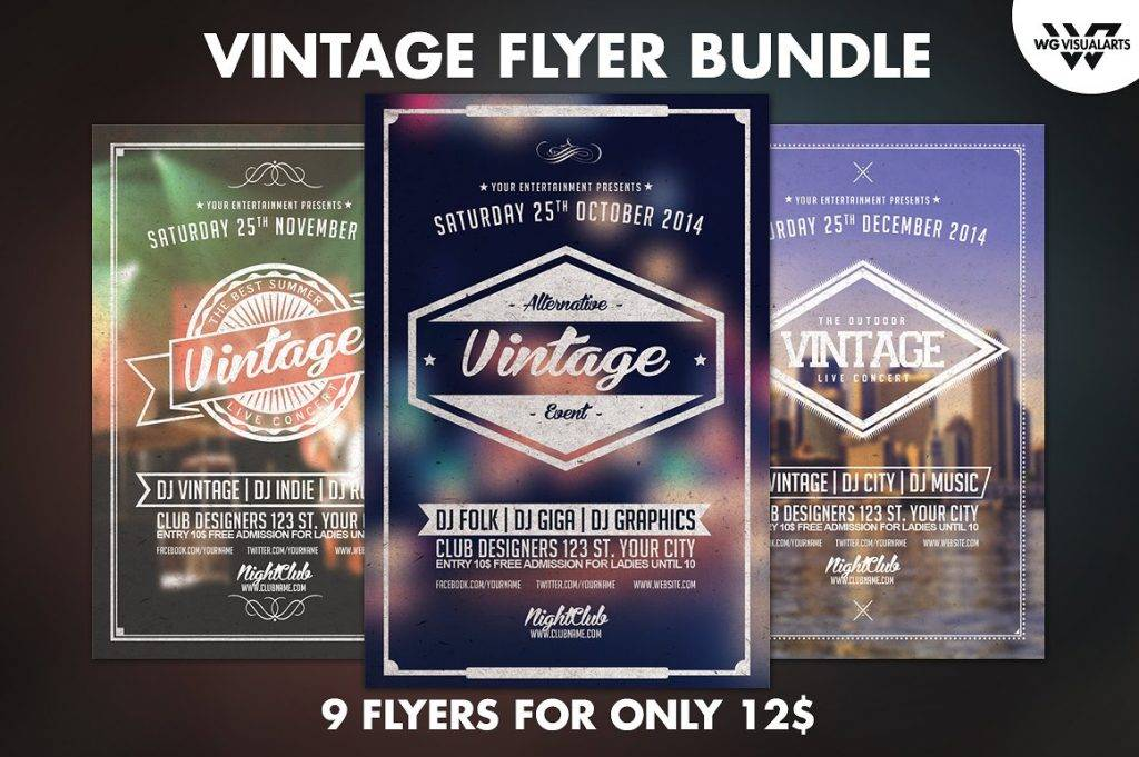 nine vintage flyer bundle