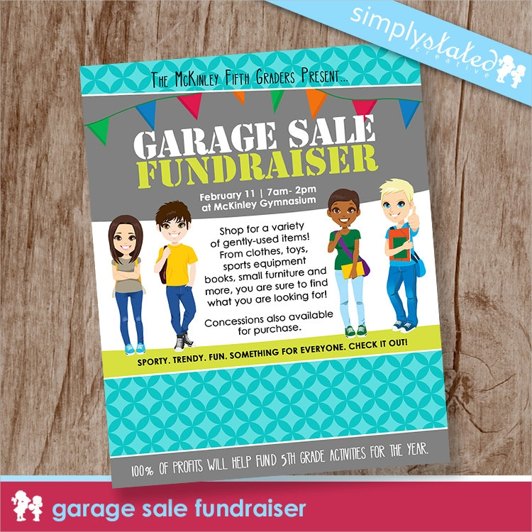 nonprofit school event garage sale fundraiser flyer