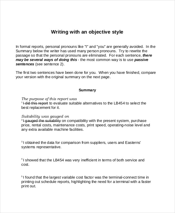 Objective Style Summary Example