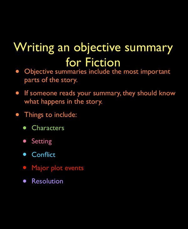 objective summary for fiction