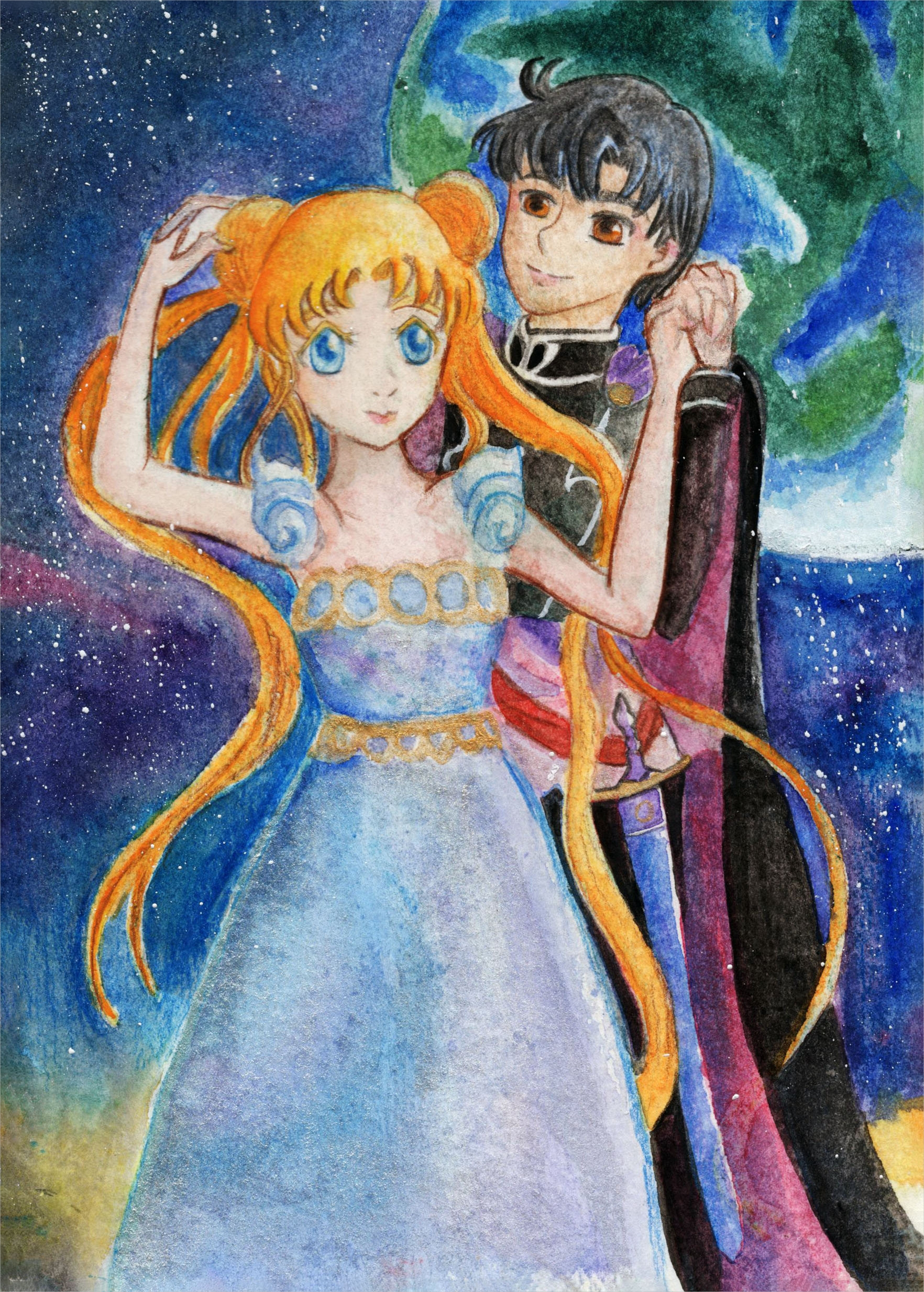 original sailor moon watercolor greeting card