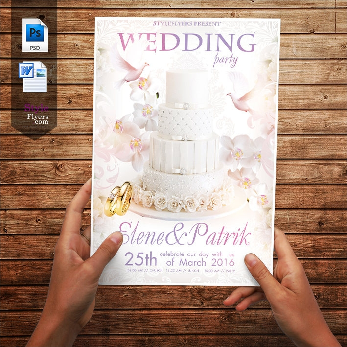 pastel pink wedding flyer template