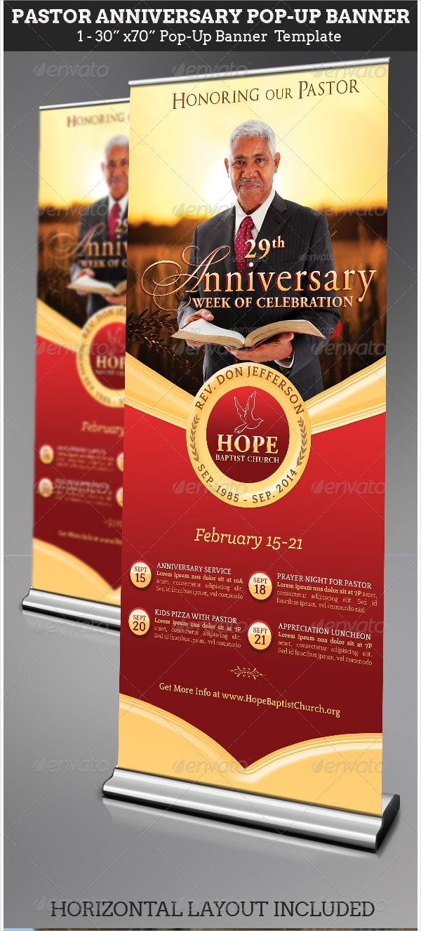 pastor anniversary pop up banner template