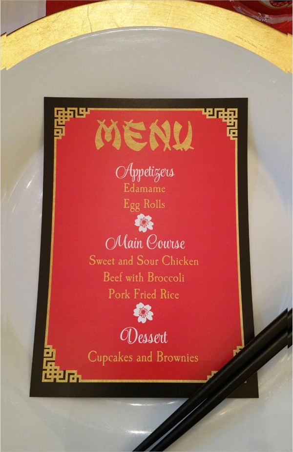 personalized chinese asian menu