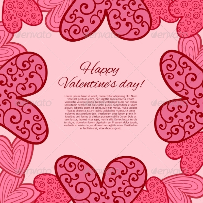 pink happy valentines day card