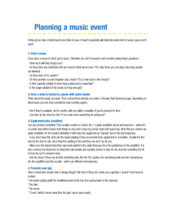 planning a music event