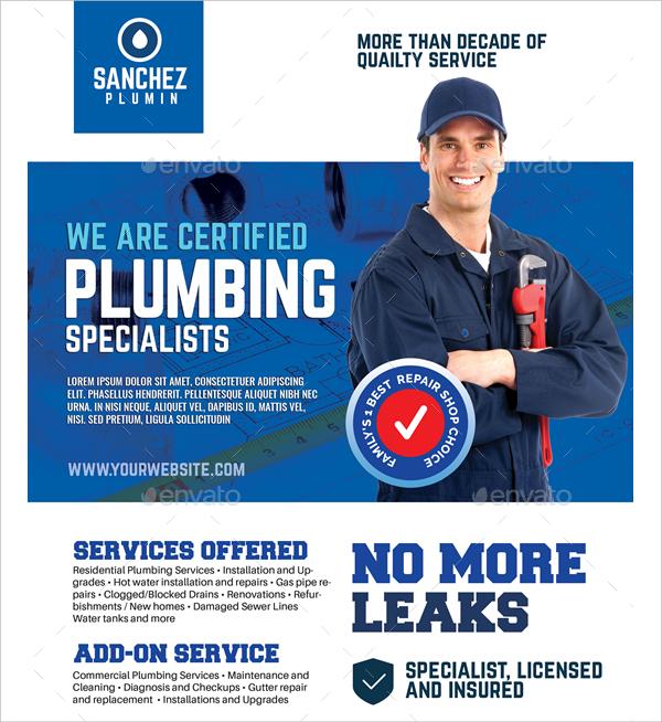 plumbing company promotional flyer