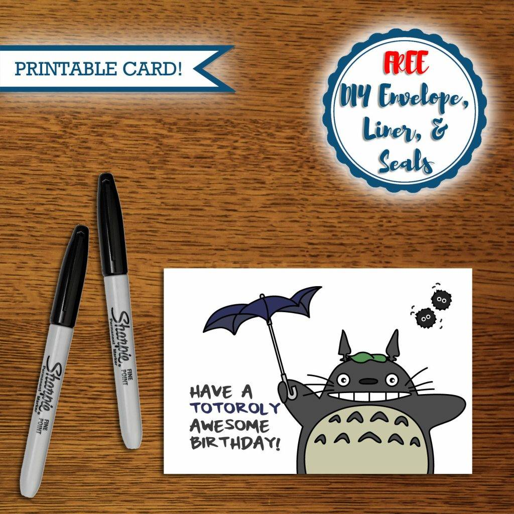 printable pun totoro birthday greeting card