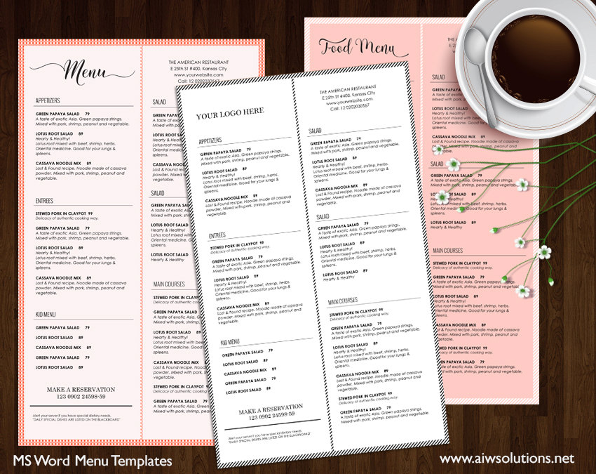 printable restaurant takeout menu template