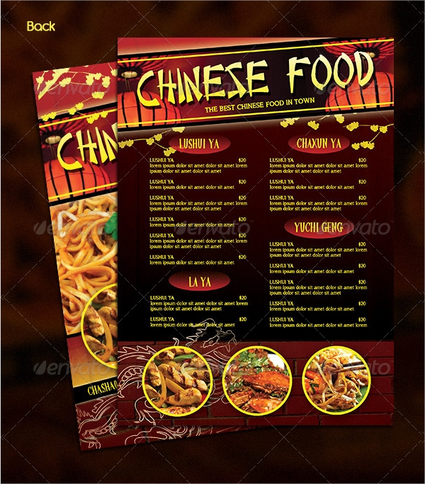 professional chinese food menu