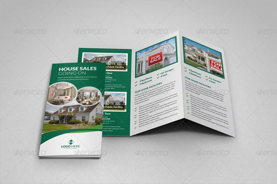 property sale trifold brochure template