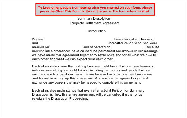 property settlement agreement
