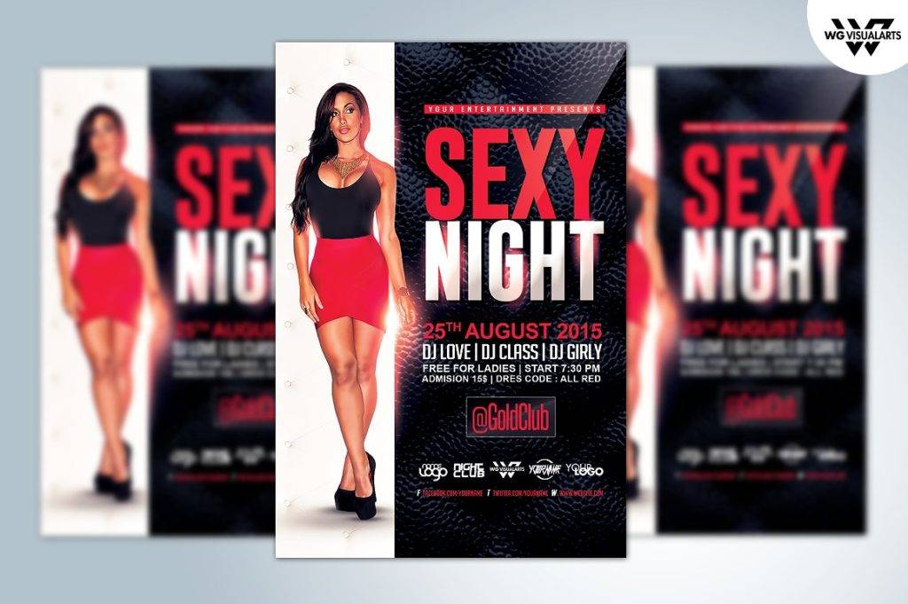 red black and white sexy night flyer template