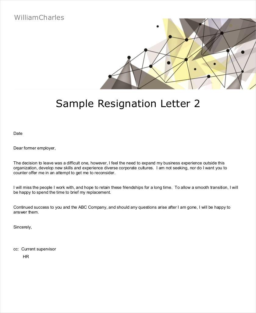 resignation letter sample in pdf