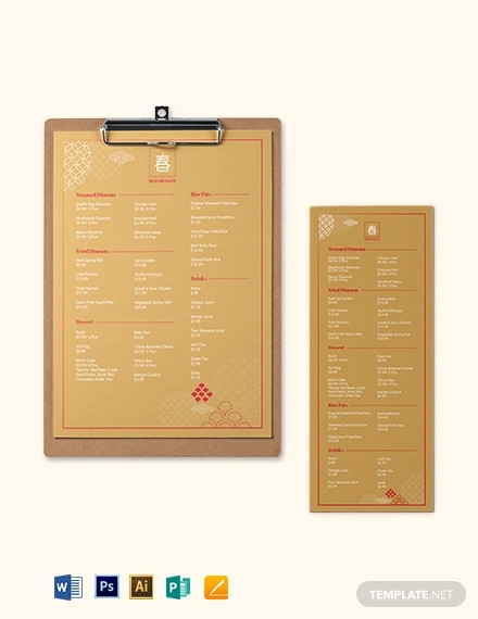 retro chinese menu template
