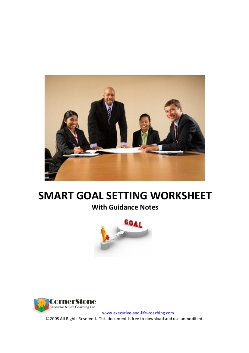 smart goal setting worksheet with guidance notes