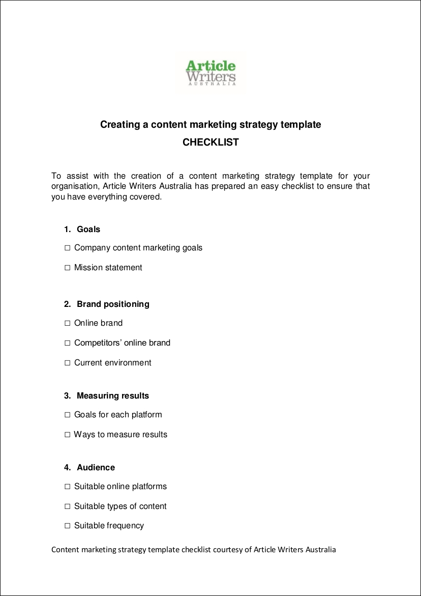 sample content marketing strategy checklist outline