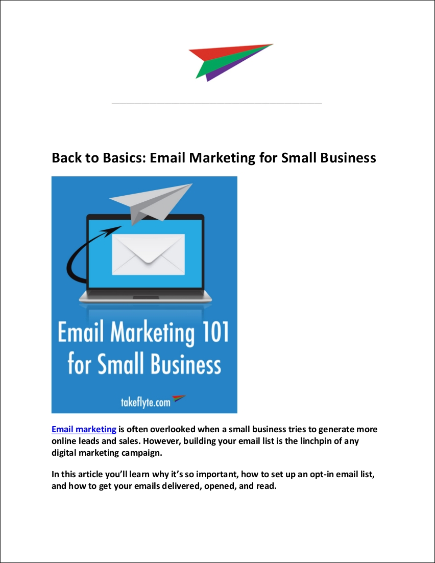 sample emailmarketing for small business