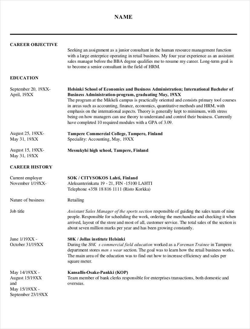 Sample Human Resources Resume For Junior Consultant1  Human Resources Resume Examples