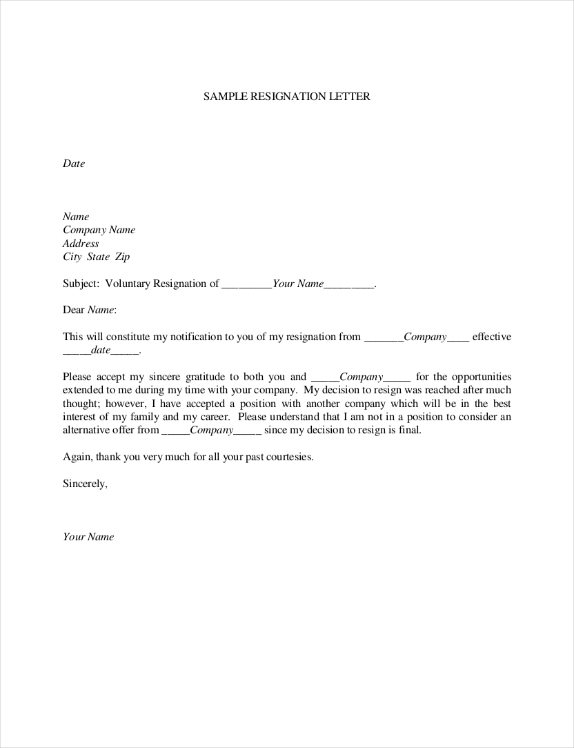 example of resignation letter 9 official resignation letter examples pdf 21578