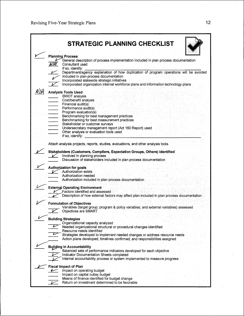 sample strategic planning checklist outline