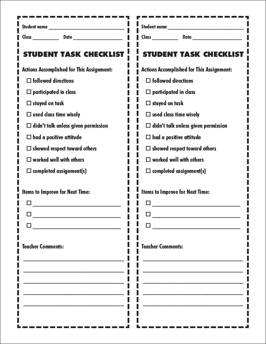 sample student task checklist