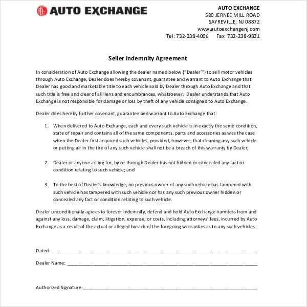 seller indemnity agreement