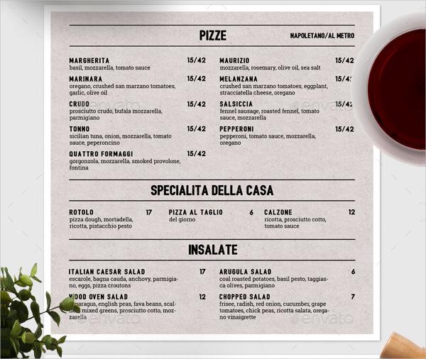 Italian Menu Designs  Examples  Psd Ai