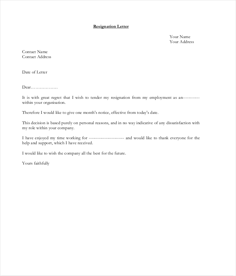letter of resignation template word 2007