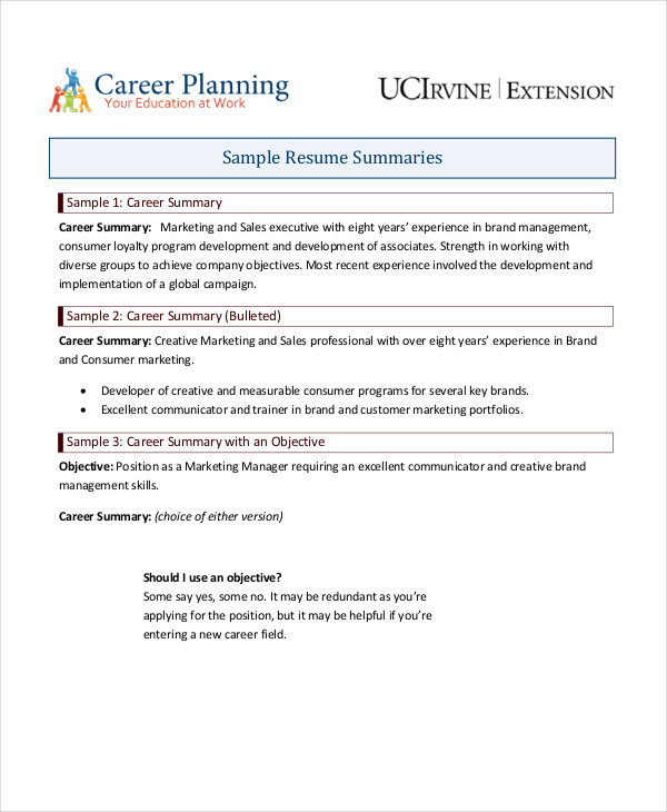 Career Summary Examples  Pdf